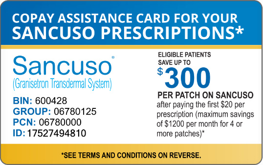 Sancuso copay assistance coupon for up to 300 dollars off per patch